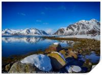 Snowy boulders at the edge of the fjord, Lofoten , Print