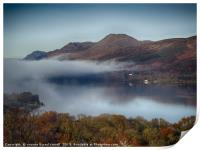 Loch Lomond and Ben Lomond with low lying mist, Print