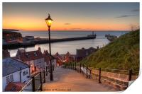 Whitby Steps - Orange Glow Landscape, Print