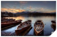 Derwent Water Rowing Boats, Print