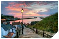 Whitby, 199 Steps, Pink Glow., Print