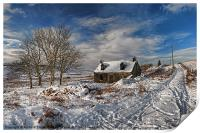 Derelict cottage in the snow, Print