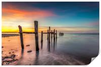 Binstead Jetty Sunset Isle Of Wight, Print