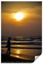 Father and son at the beach, Print