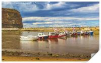 Boats In Staithes Harbour, Print