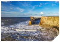 Swirling Sea at Whitby., Print