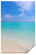Peaceful white sandy beach with blue ocean lagoon, Print