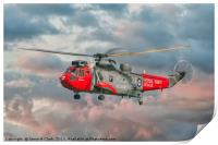 Royal Navy Search and Rescue Sea King Helicopter, Print