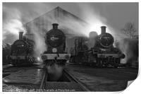 Steam shed at dusk., Print