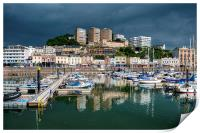 Rain clouds gather over Torquay Harbour, Print