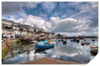 Clouds and reflections over Brixham Harbour, Print