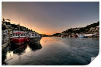 The sun goes down on the Looe River, Print