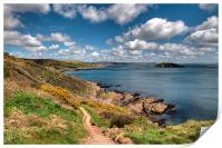 The South West Coast Path approaching Looe , Print