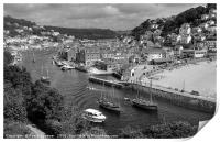 Luggers racing at Looe in South East Cornwall, Print