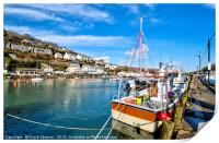 Fishing boat on the Looe River , Print