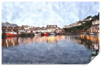 Early evening reflections at Looe in  Cornwall, Print
