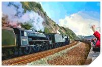 Waving to the Flying Scotsman Steam Train , Print