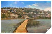 The Causeway at The Millpool in Looe Cornwall, Print