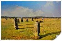 The Hurlers on Bodmin Moor near to Minions, Print