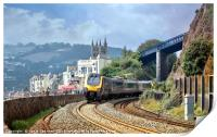 Train approaching Teignmouth after leaving Dawlish, Print