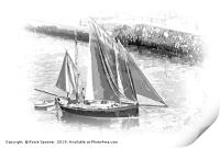 Looe Lugger in Black and White , Print