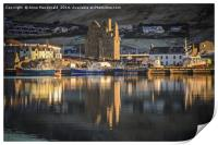 Reflections of Scalloway Harbour and Castle, Print