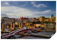 Newcastle Cityscape and Tyne Bridges, Print