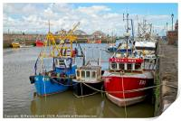 Fishing Boats in Harbour at Maryport, Cumbria, Print
