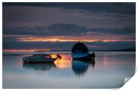 Fishing boats in Penclawdd, Print