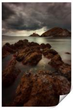 Dramatic weather over Mumbles lighthouse, Print