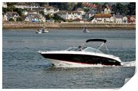 A motor Launch powering along the River Conwy, Print