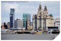 Liverpool waterfront and M.V. Snowdrop, Print