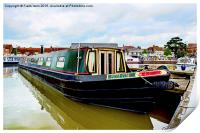 A Canal Narrowboat berthed on the Shropshire Union, Print