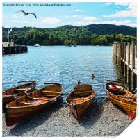 Rowing boats moored on Windermere., Print
