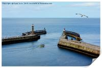 A small boat leaving Whitby Harbour, Print