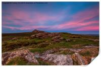 Haytor From Saddle Tor At Sunset., Print