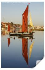 Plane sailing on calm water, Print