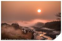 Misty Sunrise Over Beaumont Quay In Essex, Print