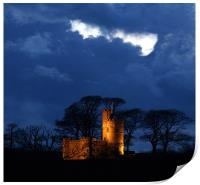 Tawstock Tower and Castle at Night, Print