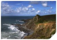 Hartland Quay-Lundy in the distance, Print