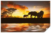family of elephants, Print