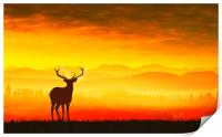 Silhouette of a deer, Print