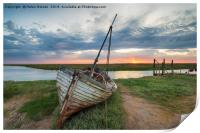 Sunrise over abandoned fishing boat on the shore a, Print