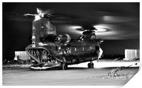 Ch47 Aircraft Chinook Helicopter Night Ops, Print