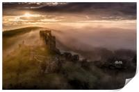 Corfe Castle misty sunrise , Print