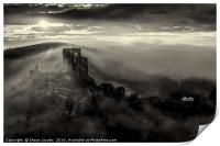 Corfe castle in the mist , Print
