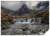 Fairy Pools waterfall on a moody morning , Print