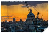 Sunset over St Paul's Cathedral with cranes, Print