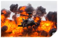 Army Air Corps WAH-64D Apache in front of a wall o, Print