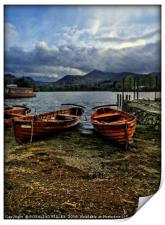 """Evening light on the boats at Derwentwater"", Print"